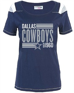 Womens Dallas Cowboys Blue Zadie Scoop Neck T Shirt