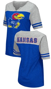 Kansas Jayhawks Juniors Sized V Neck T Shirt- On A Break-Royal