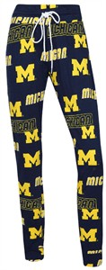 Womens Michigan Wolverines Blue Cotton Slide Lounge Pants