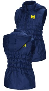 Womens Michigan Wolverines Embroidered Blue Discuss Puff Vest