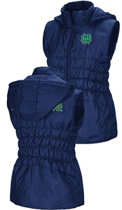 Womens Notre Dame Fighting Irish Embroidered Blue Discuss Puff Vest