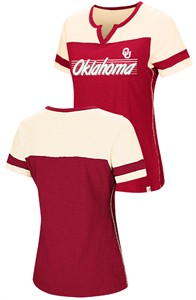Womens Oklahoma Sooners Crimson Coach Colosseum V-Notch T Shirt