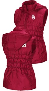 Womens Oklahoma Sooners Embroidered Crimson Discuss Puff Vest