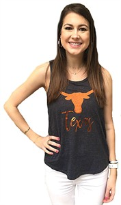 Womens Texas Longhorns Heather Black Genie Tank Top Shirt on Sale