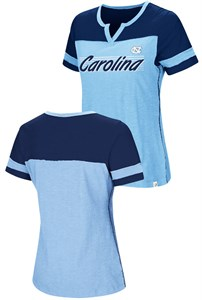 Womens UNC Tar Heels Carolina Blue Coach Colosseum V-Notch T Shirt