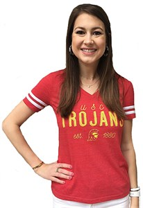 Womens USC Trojans Alyse V Neck Short Sleeve T Shirt on Sale