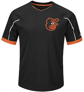 Youth Baltimore Orioles Black Emergence Synthetic V Neck Jersey Tee