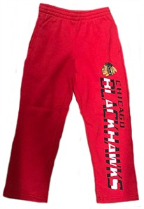 Youth Chicago Blackhawks Red Post Practice Open Bottom Sweatpants