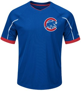 Youth Chicago Cubs Royal Emergence Synthetic V Neck Jersey Tee