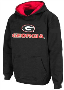 Youth Georgia Bulldogs Black Embroidered Primary Logo Hoodie  Sweatshirt