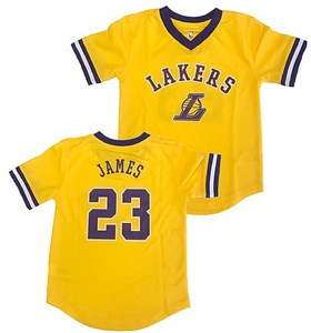 Boys Lebron James Los Angeles Lakers Gold Polyester V Neck Jersey Shirt on Sale
