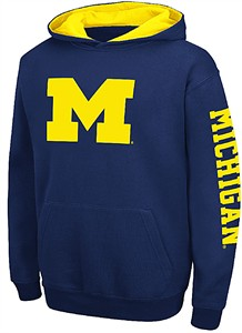 Youth Michigan Wolverines Blue Screened Zone Pullover Hoodie Sweatshirt