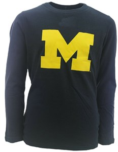 Youth Michigan Wolverines Blue Team Logo Long Sleeve T Shirt