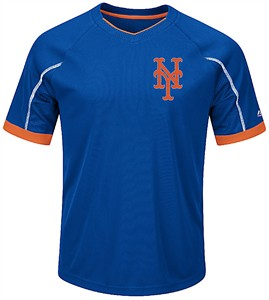 Youth New York Mets Royal Emergence Synthetic V Neck Jersey Tee