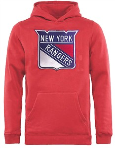 Youth New York Rangers Red Embroidered Prime Hoodie Sweatshirt