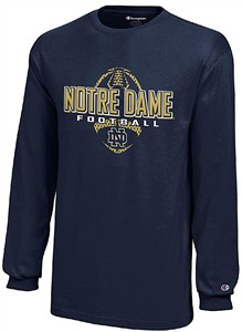 Youth Notre Dame Fighting Irish Navy Football Long Sleeve T Shirt on Sale
