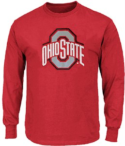 Youth Ohio State Buckeyes Red Team Logo Long Sleeve T Shirt