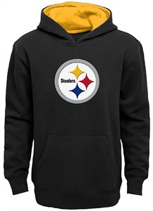 Youth Pittsburgh Steelers Black Primary Embroidered Black Hoodie Sweatshirt