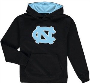 Youth UNC Tarheels Navy Embroidered Primary Logo Hoodie Sweatshirt