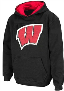 Youth Wisconsin Badgers Black Embroidered Primary Logo Hoodie Sweatshirt